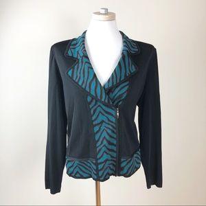 Exclusively Misook Jacket with Zebra Print Collar